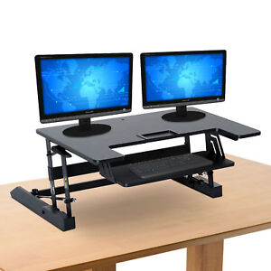 37 Ergonomic Height Adjustable Sit Stand Desk Riser Office Computer Top Desk