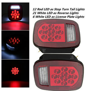 2pcs Red white 39led Stop Turn Tail Light For Truck Trailer Boat Jeep Tj Cj Yj