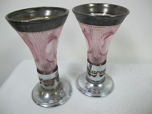 Antique Pink Glass Silver Plated E J B Bradbury Candle Stick Holders Vases