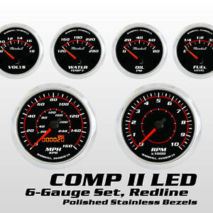 C2 Redline 6 Gauge Set Stainless Bezels 0 90 Ohm Fuel Level Electric Speedo