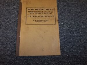 War Department Onan Sons Portable Generator Service Repair Parts Manual