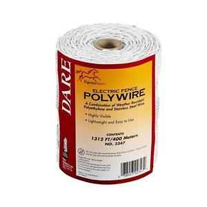 3 dare 1312 White Electric Fence 3 Strand Stainless Steel 110 Poly Wire 2347