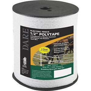 3 Pk Dare 1 2 Wide 656 Five Steel Strand Electric Fence Poly Tape 2327
