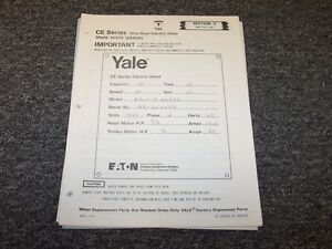 Eaton Yale Ce Series Wire Rope Electric Hoist Original Parts Catalog Manual