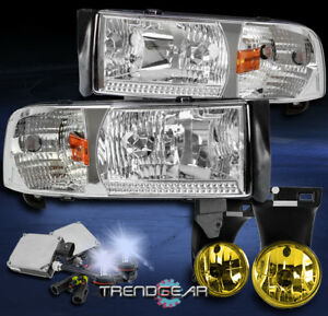 1994 2001 Dodge Ram Chrome Crystal Headlight W Yellow Bumper Fog Lamp 8k Hid Kit
