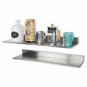 Wall Mount Stainless Steel Kitchen Pantry Spice Rack 30 Inch Shelves Set Of 2