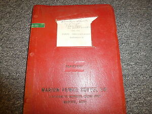 Marion Power Shovel 362 372 Crane Shovel Clamshell Loader Parts Catalog Manual