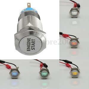 19mm 12v Car Led Latching Engine Start Metal Push Button Switch Ignition Lighted