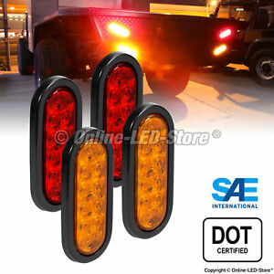 2 Red 2 Amber 6 Oval Led Trailer Tail Lights Brake Turn Signal Rv Waterproof