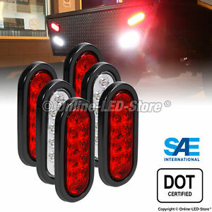 4 Red 2 White 6 Oval Led Trailer Tail Lights Brake Turn Signal Reverse Rv