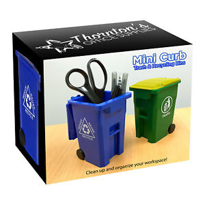 Mini Curbside Trash And Recycle Can Set Desk Pencil Cup Holder Blue green