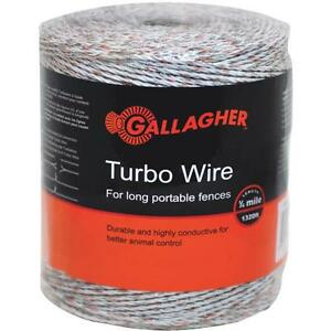 Gallagher 1 8 Mile 9 Metal Strand Electric Fence Turbo Poly Wire G620564