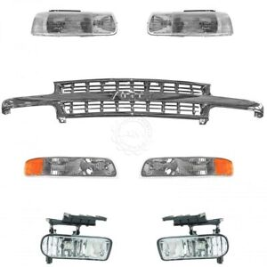 Chrome Grille Lights Front End Kit Complete For Chevy Silverado Pickup Truck