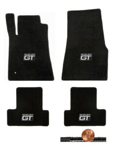 2005 2010 Gt 500 Mustang Black Front Rear Loop Floor Mats Shelby Gt Logos