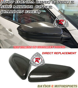 Oe style Side Mirror Cap Covers carbon Fits 16 19 Honda Civic 2 4 5dr