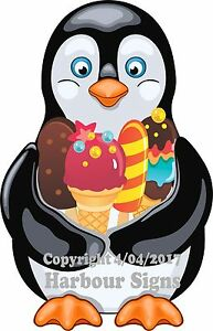 choose Your Size Penguin With Ice Cream Treats Decal Food Truck Concession