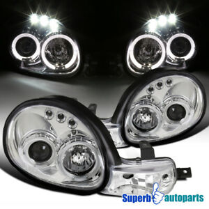 For 2000 2002 Dodge Neon Dual Led Halo Projector Headlights