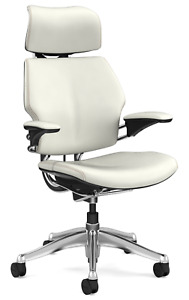 Humanscale Freedom Headrest Chair Adjustable Duron Gel Arms White Leather