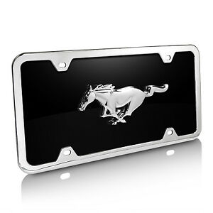 Ford Mustang Black Acrylic License Plate With Chrome Frame