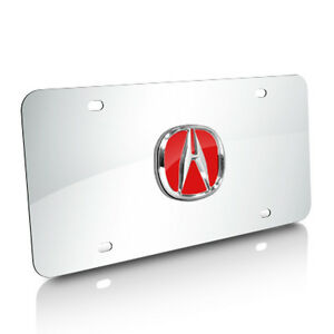 Acura Red Infill 3d Logo Chrome Stainless Steel License Plate