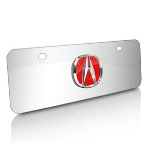 Acura 3d Red Logo Chrome Steel Half size License Plate
