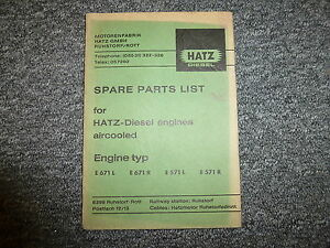 Hatz E671l E671r E571l E571r Diesel Air Cooled Engine Parts Catalog Manual