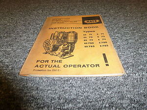 Hatz Es780 E780 Es785 E785 Diesel Air Cooled Engine Owner Operator Manual Book