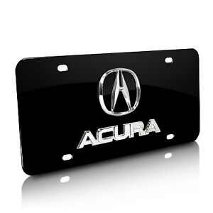 Acura 3d Logo And Nameplate Black Metal License Plate