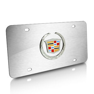 Cadillac 3d Logo Brushed Steel Auto License Plate