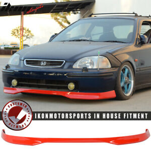 Fits 96 98 Honda Civic Ek 2dr 3dr 4dr T R Style Front Bumper Lip Painted Red