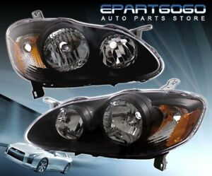 For 2003 2008 Toyota Corolla S Ce Le Xrs Jdm Style 1pc Headlights Black Amber