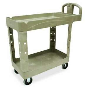 Rubbermaid Two tiered Full Service Carts Beige Rcp450088bg