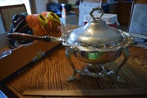 Vintage Chantilly Silverplate Chafing Dish No Burner Beautiful Details