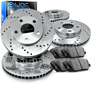 For Volkswagen Scirocco Jetta Front Rear Drilled Brake Rotors ceramic Pads