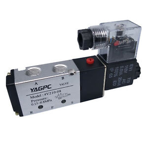 Us Stock 110vac Pneumatic Electric Solenoid Air Valve 5 Way 2 Position 4v210 08