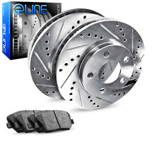 2012 2016 Ford Focus Rear Eline Drilled Slotted Brake Disc Rotors