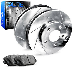 2012 2016 Ford Focus Rear Eline Slotted Brake Disc Rotors Ceramic Brake Pads