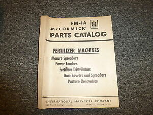 International Mccormick Fertilizer Machines Spreader Loader Parts Catalog Manual