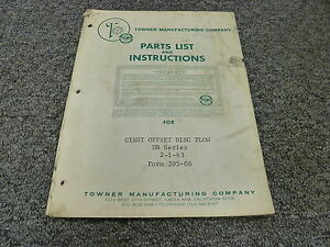 Towner Db16sp Db18 Db22 Db26 Db30 Disc Plow Part Catalog Owner Operator Manual