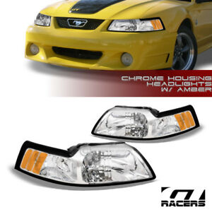 For 1999 2004 Ford Mustang Oe Chrome Housing Headlights Signal Lamps Amber Nb