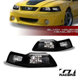 For 1999 2004 Ford Mustang Black Clear Housing Headlights Corner Signal Lamps Nb