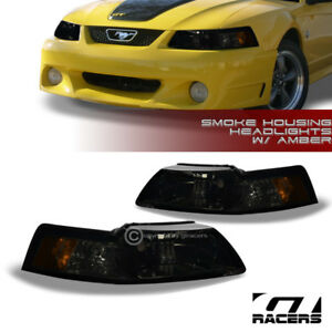 For 1999 2004 Ford Mustang Oe Smoke Housing Headlights Signal Lamp Amber Pair Nb