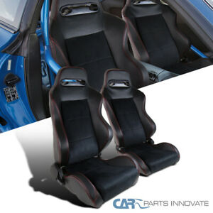Recaro Style Speed Racing Seats Pvc Suede Leather Jdm Red Stitch Left right