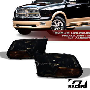 Dual Lamps For 2009 2018 Dodge Ram Factory Style Smoke Headlights Amber Pair Nb