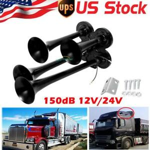 New Black Quad 4 Train Air Horn Kit Truck Boat 12v 150db Compact Horn