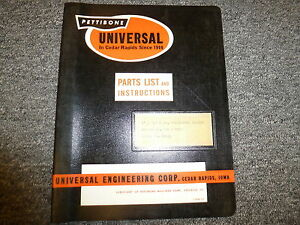 Pettibone Universal 5 X 12 Screenmaster Vibrating Screen Owner Operator Manual