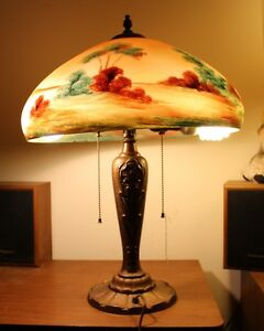 Vintage Pittsburgh Reverse Painted Scenic Lamp With Bronze Base 1942