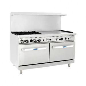 New 60 4 Burner Range 36 Griddle With 2 Ovens Nsf Stainless Gas Ato 4b36g