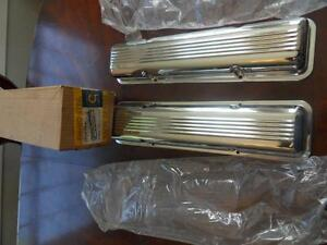 Cal Custom Nos Sbc Finned Steel Valve Covers Chrome 327 302 350 Gardena Calif