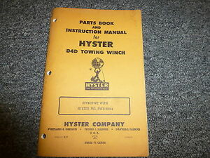 Hyster D4d Towing Winch For Cat D4 R4 Tractor Parts Catalog Owner Manual